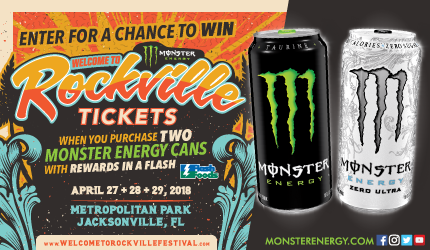 Flash Foods Current Contest - Monster Energy - Win Welcome To Rockville Tickets